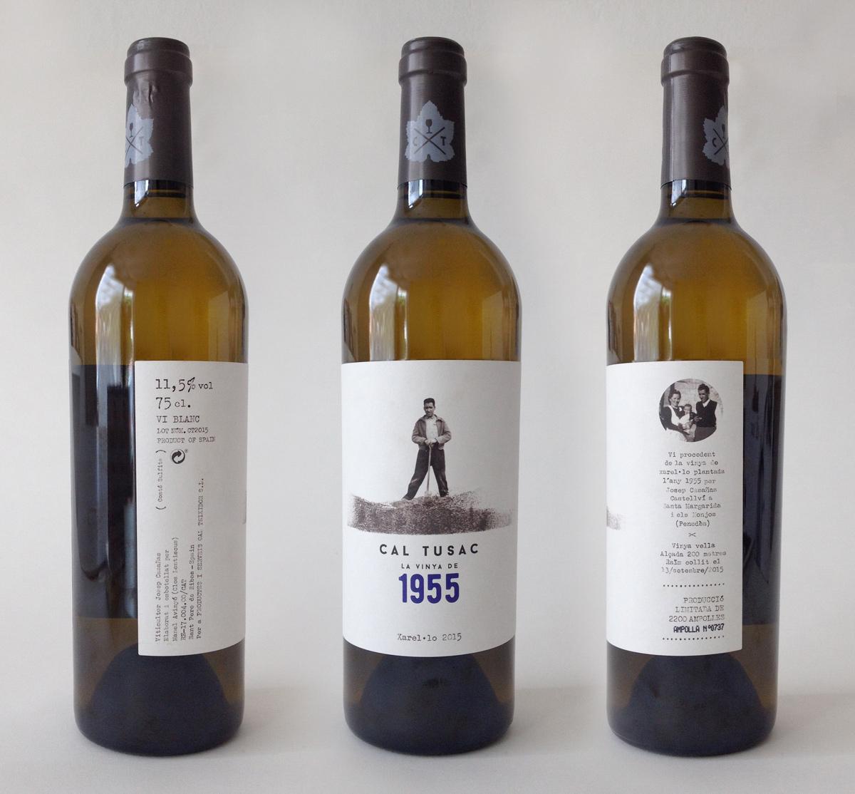 imatge corporativa, disseny gràfic, il·lustració, ampolla, vi, cal tussac 1955, penedès