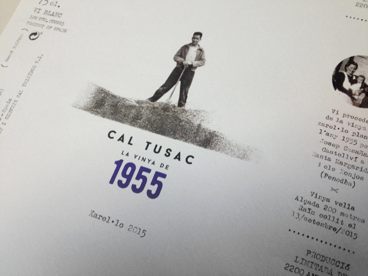 disseny gràfic, imatge corporativa, il·lustració, ampolla, vi, cal tussac 1955, penedès