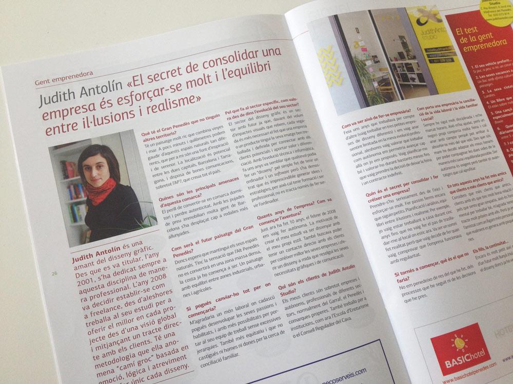 Entrevista professional disseny gràfic revista empresa Garraf Penedès