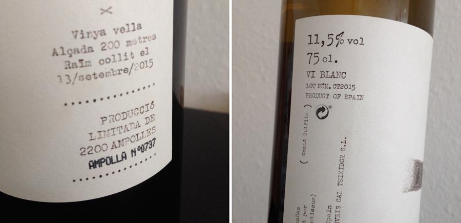 disseny gràfic, etiqueta, escriptura a màquina, ampolla, vi, cal tussac 1955, penedès